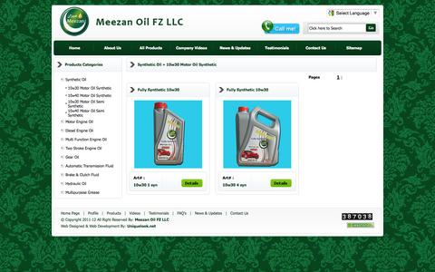 Screenshot of Products Page meezan.ae - Meezan Oil, Meezan UAE, Meezan Company in Dubai, Meezan oil in uae, Meezan, Meezan Petrol Oil, Meezan Engine Oil - captured Oct. 27, 2014