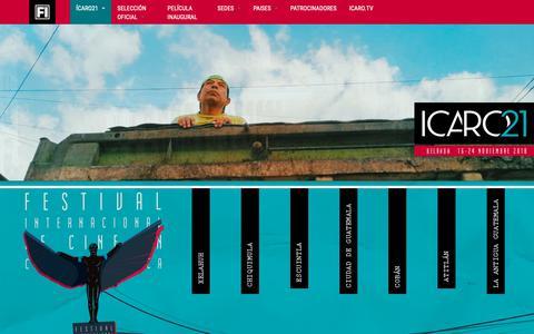 Screenshot of Home Page festivalicaro.com - XXI Festival Internacional de Cine ICARO 2018 | El festival mas importante de Centroamérica y el Caribe - captured Oct. 29, 2018