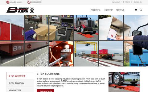 Screenshot of Home Page b-tek.com - Homepage - captured Sept. 27, 2018