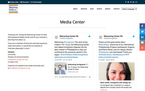 Screenshot of Press Page welcomingcenter.org - Media Center - Welcoming Center for New Pennsylvanians - captured Oct. 18, 2018