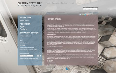 Screenshot of Privacy Page gstile.com - Privacy Policy - Garden State Tile - captured Jan. 25, 2016