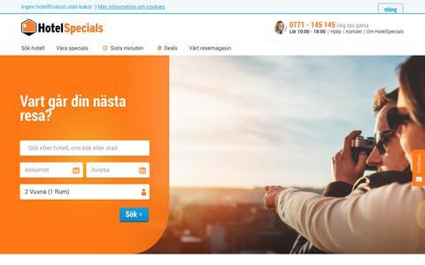 Screenshot of Home Page hotelspecials.se - HotelSpecials.se | Hotell och weekends sedan 15 år - captured Sept. 22, 2018