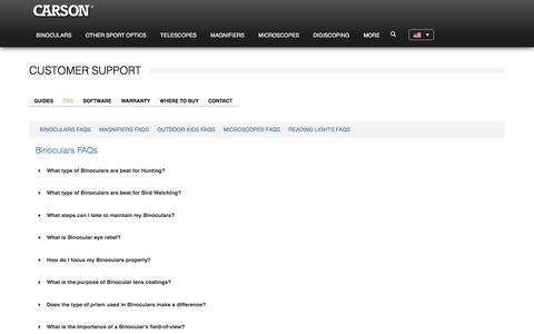 Screenshot of FAQ Page carson.com - FAQ - Carson - captured Jan. 11, 2020