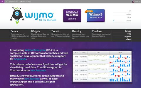 Screenshot of Home Page wijmo.com - UI for the Web powered by HTML5, jQuery & CSS3 - captured Sept. 22, 2014