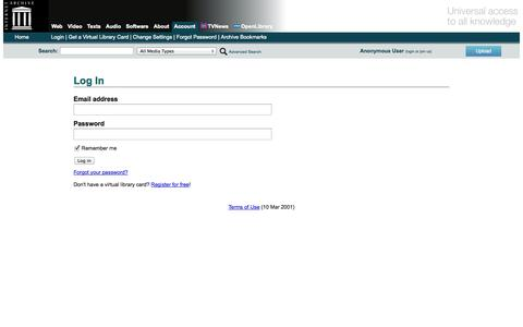 Screenshot of Login Page archive.org - Log in to the Internet Archive - captured Sept. 16, 2014