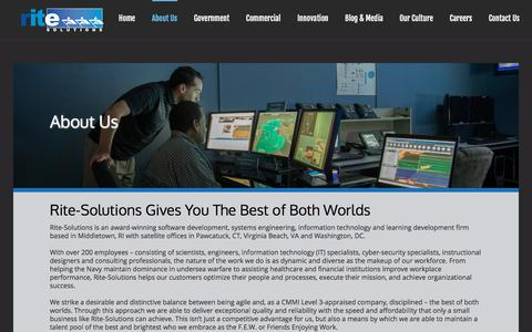 Screenshot of About Page rite-solutions.com - Innovative Software and Systems Engineering Solutions | Rite-Solutions - captured Sept. 21, 2018