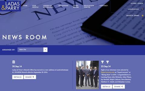 Screenshot of Press Page ladas.com - News Room Archive - Ladas & Parry LLP - captured Oct. 1, 2014