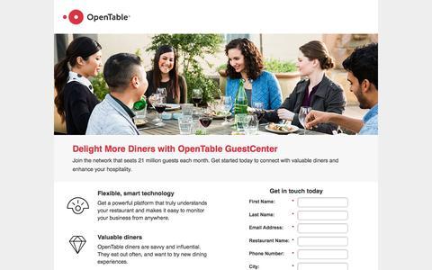 Screenshot of Landing Page opentable.com captured Feb. 7, 2017