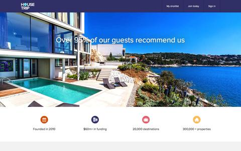 Screenshot of About Page housetrip.com - HouseTrip.com – Holiday Lettings, Apartments, Villas & more worldwide - captured May 5, 2016