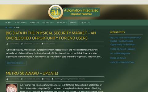 Screenshot of Blog ai-sys.com - Blog - Automation Integrated - captured Feb. 6, 2016