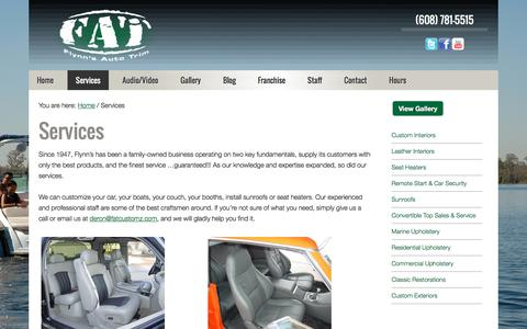 Screenshot of Services Page fatcustomz.com - Customize Your Car, Customize A Car, Customize Cars - captured June 16, 2016