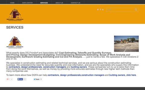 Screenshot of Services Page dgfrondorf.com - Services - DGFA llcDGFA llc - captured Oct. 23, 2014