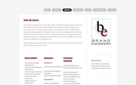 Screenshot of Services Page brandengineers.com - Strategic brand services at any lifecycle phase - The Brand Positioning Strategy Company - captured July 30, 2016