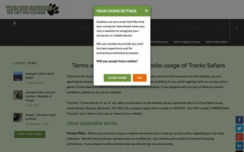 Screenshot of Terms Page trackssafaris.co.uk - Terms & Conditions of Website - captured Sept. 21, 2018