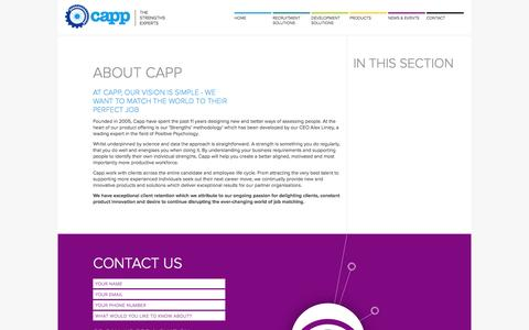 Screenshot of About Page capp.co - About Capp | At Capp, our vision is simple - we want to match the world to their perfect job - captured Oct. 20, 2016