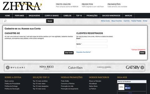 Screenshot of Login Page zhyra.com.br - Login de Cliente - captured Oct. 9, 2014
