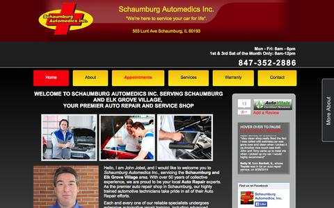 Screenshot of Home Page schaumburgautomedics.com - Schaumburg Automedics Inc. | Auto Repair Schaumburg IL | Engine Repair Elk Grove Village IL | Brake Repair 60193 | Transmission Repair 60007 | Auto Electrical Service Schaumburg IL - captured Oct. 4, 2014