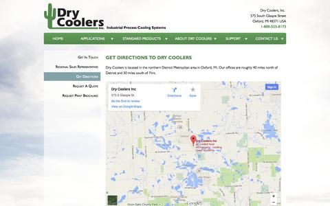 Screenshot of Maps & Directions Page drycoolers.com - Get Directions to Dry Coolers | Dry Coolers Inc. - captured Oct. 5, 2014
