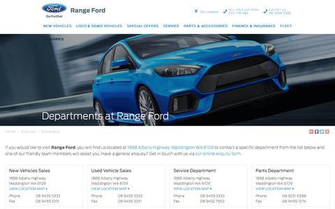 Screenshot of Contact Page rangeford.com.au - Departments at Range Ford | Maddington - captured Sept. 21, 2018