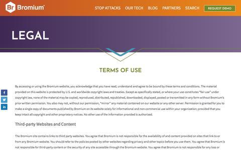 Screenshot of Terms Page bromium.com - Legal - Bromium - captured April 10, 2018