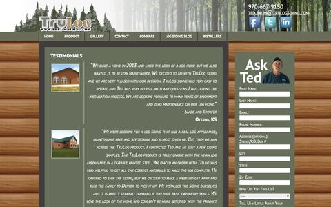 Screenshot of Testimonials Page trulogsiding.com - Testimonials - Tru Log Siding - captured Oct. 9, 2014