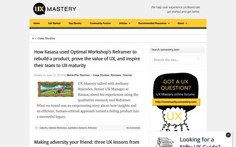 Screenshot of Case Studies Page uxmastery.com - Case Studies Archives – - captured June 13, 2019