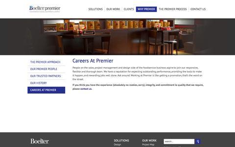 Screenshot of Jobs Page boelterpremier.com - Boelter Premier  - Careers At Premier - captured Nov. 10, 2016