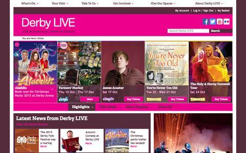Screenshot of Home Page derbylive.co.uk - Derby LIVE | Events, performances & festivals - captured Oct. 10, 2015