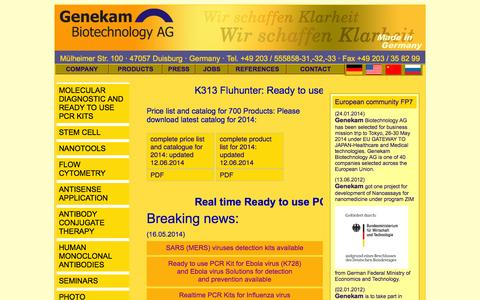 Screenshot of Home Page Products Page genekam.de - GENEKAM | PCR Kits | STEM CELL - captured Oct. 2, 2014