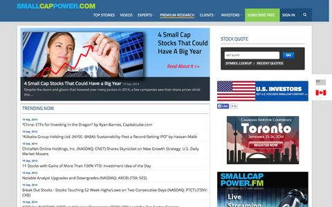Screenshot of Home Page smallcappower.com - Small Cap Stocks Canada|Penny Stocks|Investing Ideas & Research - smallcappower - captured Sept. 23, 2014