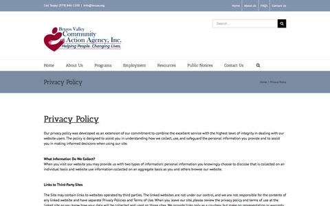 Screenshot of Privacy Page bvcaa.org - Brazos Valley Community Action Agency   –  Privacy Policy - captured Nov. 23, 2016