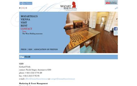 Screenshot of Team Page mozarthausvienna.at - Team - Mozarthaus Vienna - captured Oct. 18, 2018