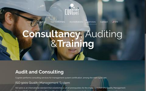 Screenshot of Services Page cugnier.com - Consultancy, Auditing And Training – Cugnier - captured Nov. 11, 2018
