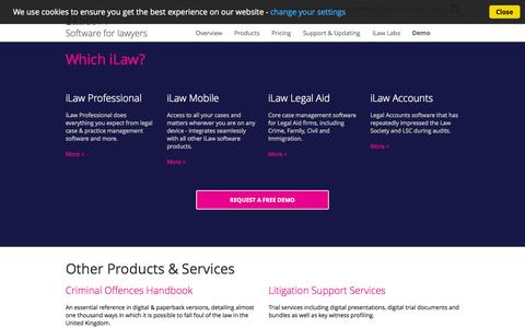 Screenshot of Products Page ilawsoftware.co.uk - iLaw Legal Case Management software for solicitors, including Document Management, Billing systems, Time Tracking and more. - captured Oct. 4, 2014