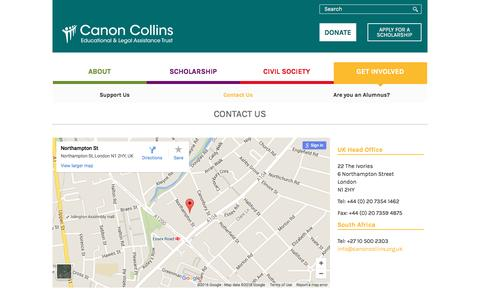 Screenshot of Contact Page canoncollins.org.uk - Contact Us | Canon Collins Educational and Legal Assistance Trust - captured Jan. 25, 2016