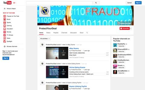 Screenshot of YouTube Page youtube.com - ProtectYourDeal  - YouTube - captured Oct. 28, 2014