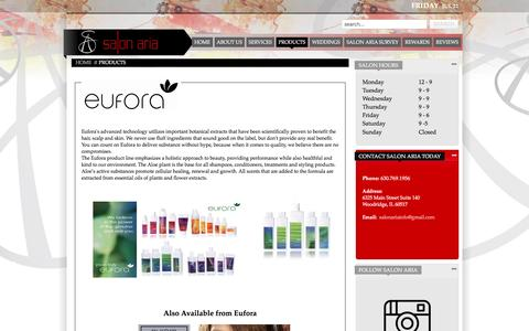 Screenshot of Products Page salonaria.net - Salon Products - captured July 22, 2016