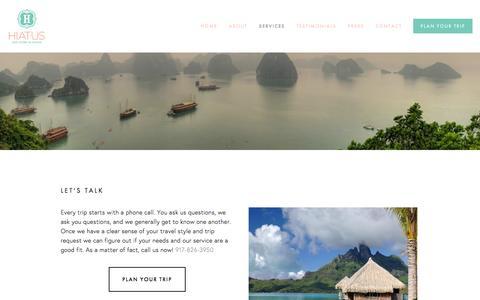 Screenshot of Services Page hiatustravel.com - Services Ń Hiatus - captured Dec. 5, 2015