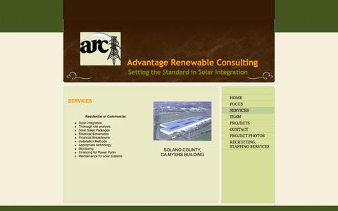 Screenshot of Services Page arcprosolar.com - Advantage Renewable Consulting - Untitled - captured Oct. 4, 2014