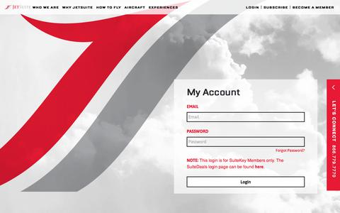 Screenshot of Login Page jetsuite.com - My Account | JetSuite - captured Nov. 21, 2019