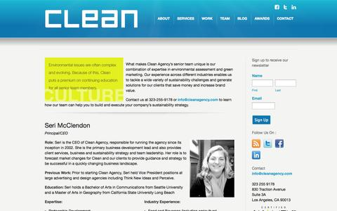 Screenshot of Team Page cleanagency.com - Clean Agency Sustainability Consulting Los Angeles: Senior Team - captured Oct. 28, 2014