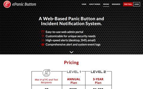 Screenshot of Pricing Page epanicbutton.com - Pricing | ePanic Button - captured Sept. 19, 2017