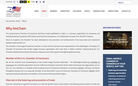 Screenshot of About Page amcham.co.il - The Israel-America Chamber of Commerce - About - captured Dec. 20, 2018