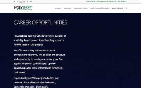 Screenshot of Jobs Page polywest.ca - Polywest Ltd. |   Career Opportunities - captured Oct. 3, 2014