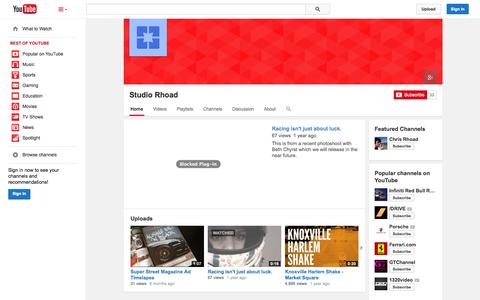 Screenshot of YouTube Page youtube.com - Studio Rhoad  - YouTube - captured Nov. 4, 2014