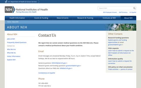 Screenshot of Contact Page nih.gov - Contact Us   National Institutes of Health (NIH) - captured Aug. 19, 2016