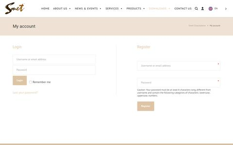 Screenshot of Signup Page Login Page smet.be - My account – Smet Chocolaterie - captured Sept. 20, 2018