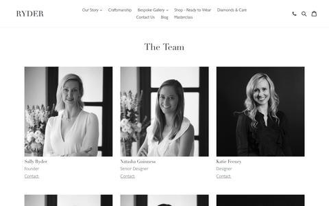 Screenshot of Team Page ryderdiamonds.com - The Team                       – ryderdiamonds - captured Oct. 20, 2018