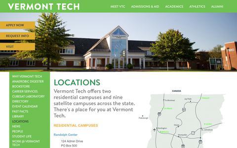 Screenshot of Locations Page vtc.edu - Locations   Vermont Tech - captured Nov. 13, 2017