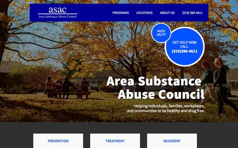 Screenshot of Home Page asac.us - Home - ASAC | Area Substance Abuse Council - captured Jan. 23, 2015